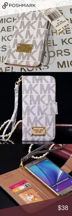 NWT Michael Kors Samsung Galaxy Flip Phone Case NWT Michael Kors Samsung Galaxy S6 White PVC Flip Phone Case with 3 slots for cards and slip pocket for cash, receipts anything you need! Your all in one portability Magnetic Closure! no trades price firm MICHAEL Michael Kors Accessories Phone Cases