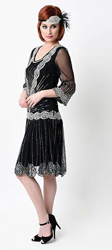 1920s Style Black Silver Hand Beaded Long Sleeve Karyn Fler Dress Unique Vintage Vestido
