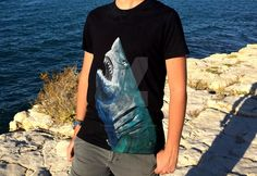 """""""Carcharodon carcharias"""", the t-shirt I painted for Vincenzo. Size: L Paint for dark tissues on black cotton 100%"""