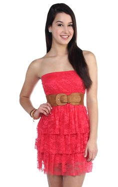 Deb Shops #coral all over lace strapless triple tier skirt day dress