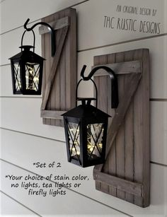 Hanging Lantern Sconces Set of 2 Lantern Sconces Hanging Sconces Rustic Lantern Sconces Rustic Wall Barn Door Sconces Lighted Sconces lanterns Rustic Light Fixtures, Rustic Lighting, Sconce Lighting, Bathroom Lighting, Wood Sconce, Rustic Wall Sconces, Diy Bathroom Decor, Lantern Chandelier, Hanging Lanterns