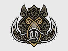 Celtic Wild Boar by Sergey Arzamastsev #Design Popular #Dribbble #shots