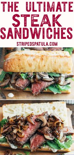 Looking for the ultimate steak sandwich? Layered with pan-seared ribeye, sautéed mushrooms, caramelized onions, & zesty horseradish sauce on crusty ciabatta, this recipe is one to savor! #beef #sandwich