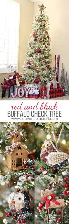 Red & Black, Buffalo Check Woodland Christmas Tree