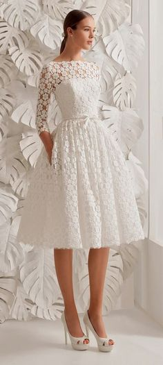 White prom dress 3 4 sleeves lace prom dress short prom dress o neck evening gown knee length prom dress aline short party dress Trendy Dresses, Cute Dresses, Beautiful Dresses, Short Dresses, Long Skirts, Gorgeous Dress, Tight Dresses, Bridal Dresses, Dress Wedding