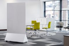 A frameless magnetic mobile whiteboard, the Freestander with a double sided writing surface is ideal for flexible visual thinking and creative planning - MIGHT ONLY BE AVAILABLE IN THE UK! Movable Partition, Partition Design, Corporate Interiors, Office Interiors, Open Concept Office, Open Office, Space Dividers, Start Ups, Architecture