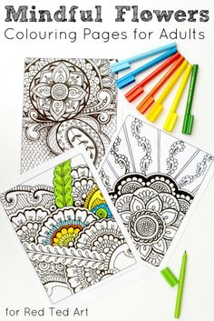 FLOWERS - Meditative Art Therapy Colouring Pages for Adults - loose yourself in colouring