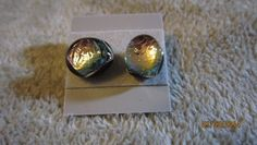 PINK CAT EYE DICHROIC GLASS SMALL STUD POST EARRINGS FREE SHIPPING   Imaginative_Creations - Jewelry on ArtFire