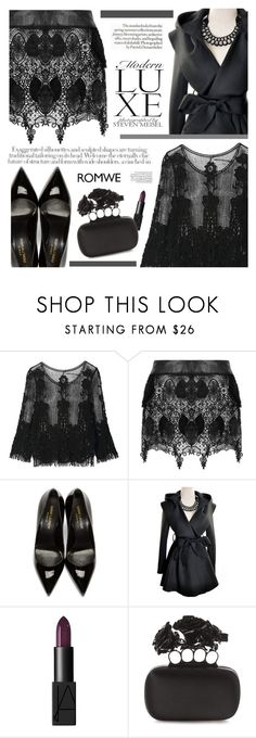 """""""Black lace"""" by mihreta-m ❤ liked on Polyvore featuring Yves Saint Laurent, NARS Cosmetics and Alexander McQueen"""