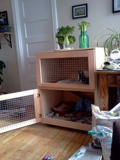 Want to keep rabbit for meats or pet? You need to build a rabbit hutch. Here's a collection of 50 free DIY rabbit hutch plans and ideas. Rabbit Hutch Indoor, Rabbit Hutch Plans, Rabbit Hutches, Indoor Rabbit Cages, Diy Bunny Cage, Bunny Cages, Bunny Rabbits, Rabbit Cage Diy, Lionhead Bunnies