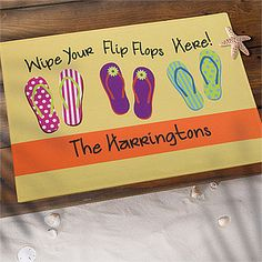 "Someone personalized this ""Wipe Your Flip Flops Here"" Doormat for the entry gate of their Beach Wedding! What a cute idea! Also perfect for a lake house or by a pool! It's only $22.95 now at PMall! #Wedding #BeachWedding #FlipFlop"