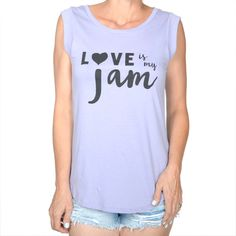 Love Is My Jam - Lilac Cap Sleeve Muscle Tee Shirt