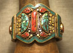 Vintage Tibetan Cuff Bracelet | Brass bracelet with amber and turquoise inlays.