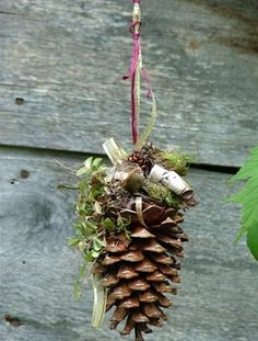 Must make these for my tree. Got so many large cones to use up. Must add some red and maybe gold to it though.