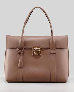 Salvatore Ferragamo - Sookie Lock Story Leather Satchel Bag, Taupe