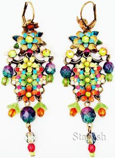 Michal Negrin Multicolor Crystals Cluster Earrings | eBay