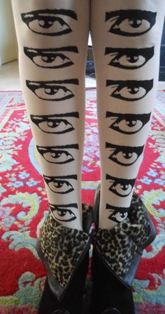 Siouxsie Sioux EYES tights stockings white Punk Death by massmedia
