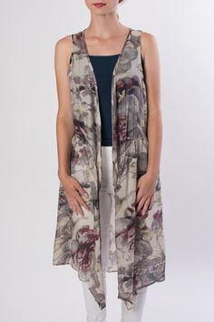 Casual floral sleeveless vest. Hits mid-thigh and looks great over pants and a tank for summer. Can be worn over a long sleeve tee during the colder seasons.   Floral Vest by CIEL U.S.A. Clothing - Jackets Coats & Blazers - Vests Orange County California