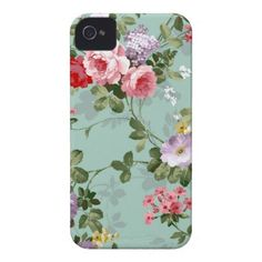 Vintage Elegant Pink Red Roses Pattern iPhone 4 Case