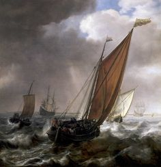 vlieger - A Dutch Ferry Boat Before a Breeze. 1600s. Oil on canvas. 832.2 x 812.8 mm. National Maritime Museum, London, England