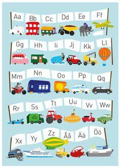 Ejvor Poster ABC Fordon är en lekfull och dekorativ affisch med motiv av alfabetet och fordon. <br>Affischens härliga färger och fantasifulla design gör den till en vacker inredningsdetalj att hänga upp på väggen i barnrummet, perfekt för din lilla bilfantasten. Perfekt när det är dags att lära sig alfabetet på ett roligt och kreativt sätt. Postern är tyckt på 220g obestruket papper vilket gör den lika lämpad att hänga direkt på väggen som att rama in. <br><br>Postern kommer...
