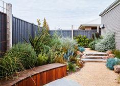 Organic Gardening In Raised Beds Code: 9127873677 Australian Garden Design, Australian Native Garden, Side Yard Landscaping, Front Garden Landscape, Small Front Gardens, Zen Garden Design, Coastal Gardens, Garden Inspiration, Garden Ideas
