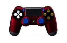 PS4Controller-BlackRedCarbonFiber   Flickr - Photo Sharing! #PS4controller #PS4 #PlayStation4controller #customcontroller #moddedcontroller #dualshock4