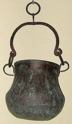 Antique Exquisite Solid Copper Cooking Pot w Wrought Iron Handle Hanging Ring   eBay