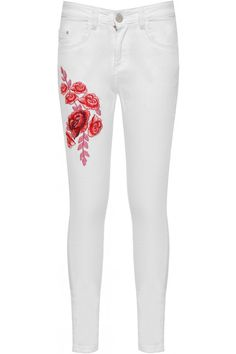 Deirdre Rose Accent Ripped White Skinny Jeans