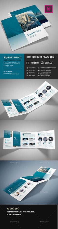 Corporate Square Trifold Business Brochure Template InDesign INDD. Download here: http://graphicriver.net/item/corporate-square-trifold-business-brochure-/15562864?ref=ksioks