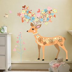 Wall decals Doe, birds, end flowers