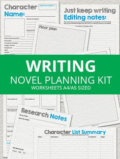 Ultimate Novel Planning Kit Printable Writing by ButterflyandBear Writing Advice, Writing Help, Writing A Book, Writing Prompts, Writing Worksheets, Writing Resources, Printable Worksheets, National Novel Writing Month, Writing Boards