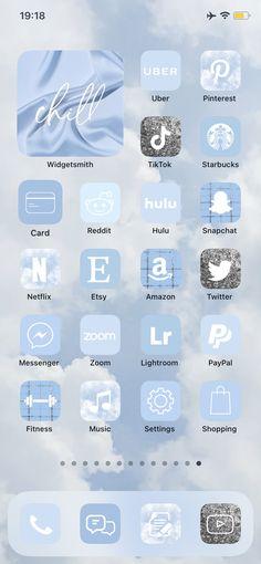 500多個iOS 14應用程序圖標藍天 自定義您的iPhone主屏幕 帶有單詞的小部件 審美應用程序涵蓋300多個iOS 14應用程序圖標柔和,藍色,綠色,薄荷,可愛,彩虹Widget社交媒體徽標查看我們完整的粉彩系列#softblueios14 #pastel #palette #logos #socialmedialogo #appicons#homescreenios14#bright&airy #silverwallpaper #silverappicons #bluepastelicons #airy #skymood#lightios14#雲#cloudswallpapers Walpapers Iphone, Iphone Icon, Iphone Home Screen Layout, Iphone App Layout, Blue Wallpaper Iphone, Blue Wallpapers, Lightroom, Cute App, Iphone Design