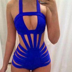 6ecc74d30406e One Piece Swimsuit 2018 Push Up Monokini Brazilian Women Bandage Swimwear  Sexy Halter Top Bathing Suit Solid Swimming Suits