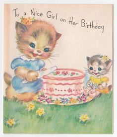 Vintage Greeting Card Rust Craft 1940s Cute Cat Kitten Birthday Cake a440