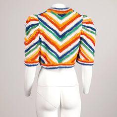 1940s Vintage Striped Rainbow Bolero Jacket in Shaggy Terry Cloth 4