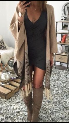 Stitch Fix fall fashion. Black mini dress with long poncho cardigan with color block & boots