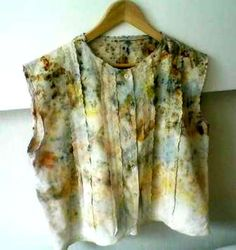 Women's blouse with cotton - eco dyeing eco printing, hand made,