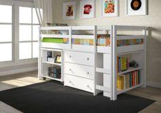 Whitetwin Low Loft Bunk Bed Built in Chest Book Shelf Desk Ships Free   eBay