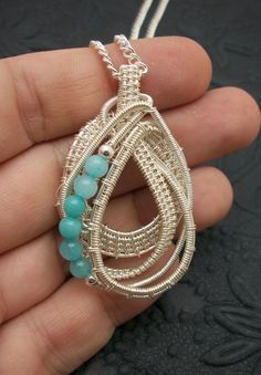 Sterling Silver Wire Wrapped Teardrop by BuyThePlaceWithBeads, $30.00