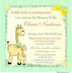 Gender Neutral Green & Yellow Giraffe Invitation