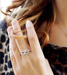 Diamond infinity knot ring from @sillyshiny.