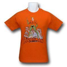Amazon.com: DC Comics - Aquaman distressed design Men's T-Shirt: Clothing