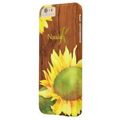 Watercolor Sunflowers on Wood iPhone 6 Plus Case