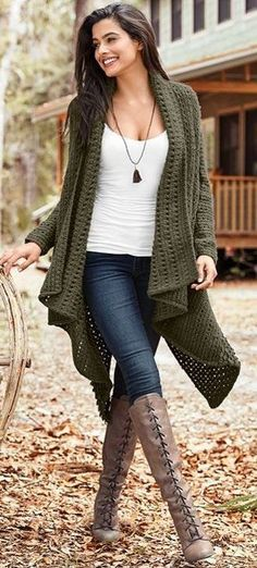 #fall #outfits women's green knitted cardigan, white tank top, and blue jeans