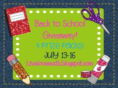 Live. Love. Math.: Back to School Giveaway!
