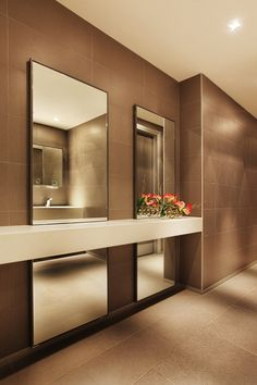 Philip Morris / mimari Studio Mirrors cutting through the countertop - could be support for vanity Bathroom Spa, Bathroom Toilets, Wood Bathroom, Modern Bathroom, Washroom, Restroom Design, Bathroom Interior Design, Interior Modern, Bathroom Designs