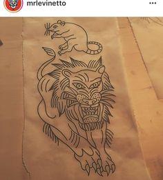 Traditional Lion Tattoo, American Tattoos, Old School, Oriental, Animals, Vintage, Tattoo, Stripes, Traditional