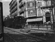 1905. Carrer de  Balmes. Ferrocarril de Sarrià. Brcelona, Catalunya. Espanya.
