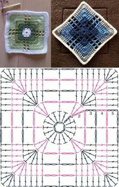 Motif Mandala Crochet, Crochet Coaster Pattern, Crochet Motif Patterns, Crochet Blocks, Granny Square Crochet Pattern, Crochet Diagram, Crochet Chart, Crochet Squares, Crochet Designs